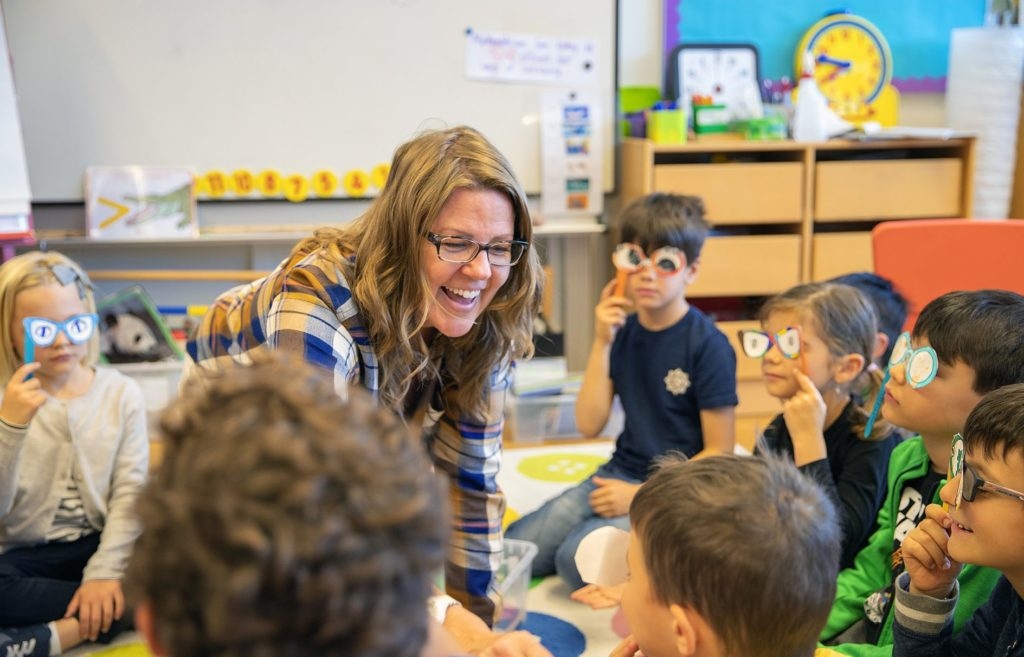 Teacher in a primary class