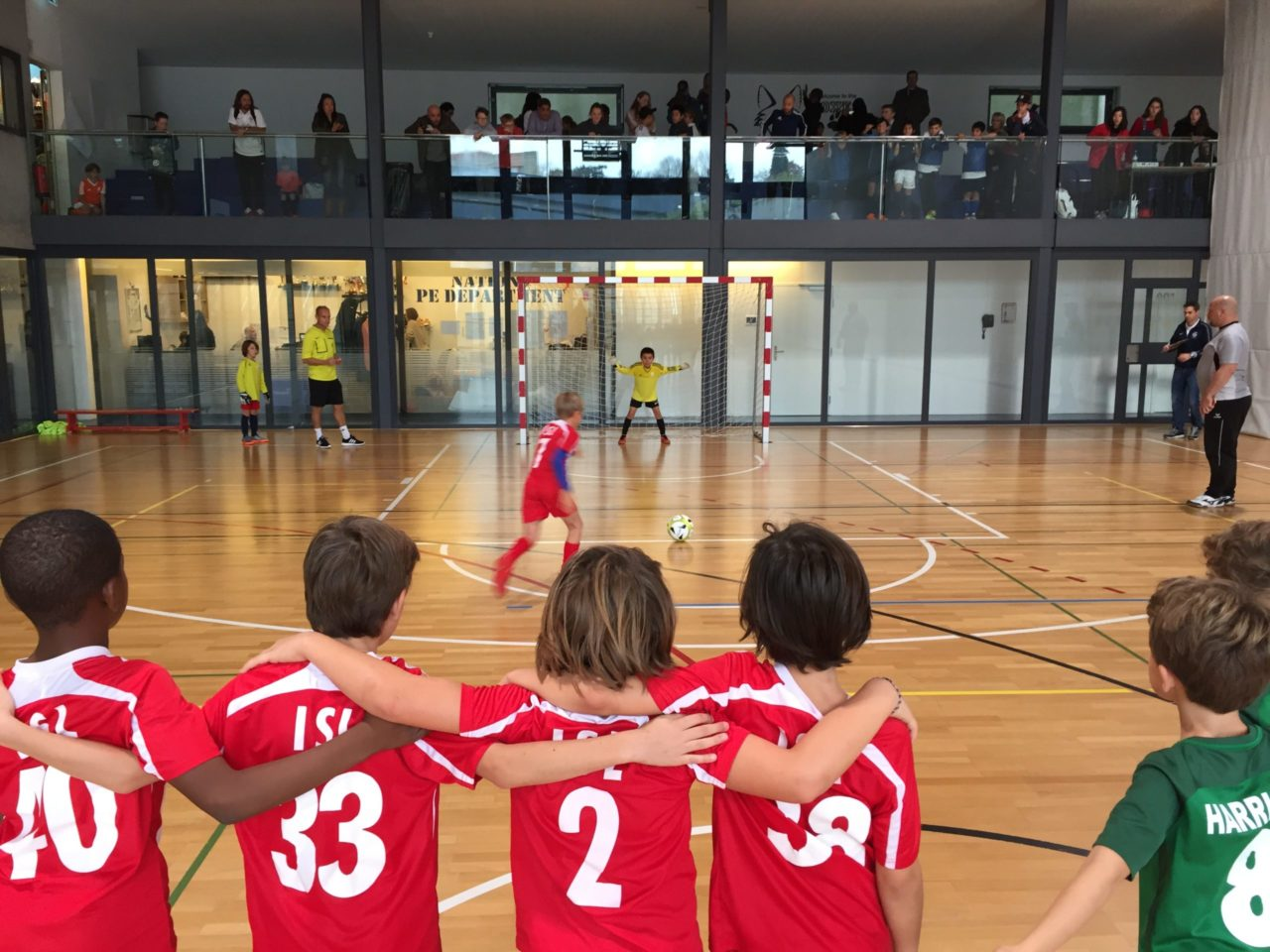 Indoor football game at International School of Lausanne